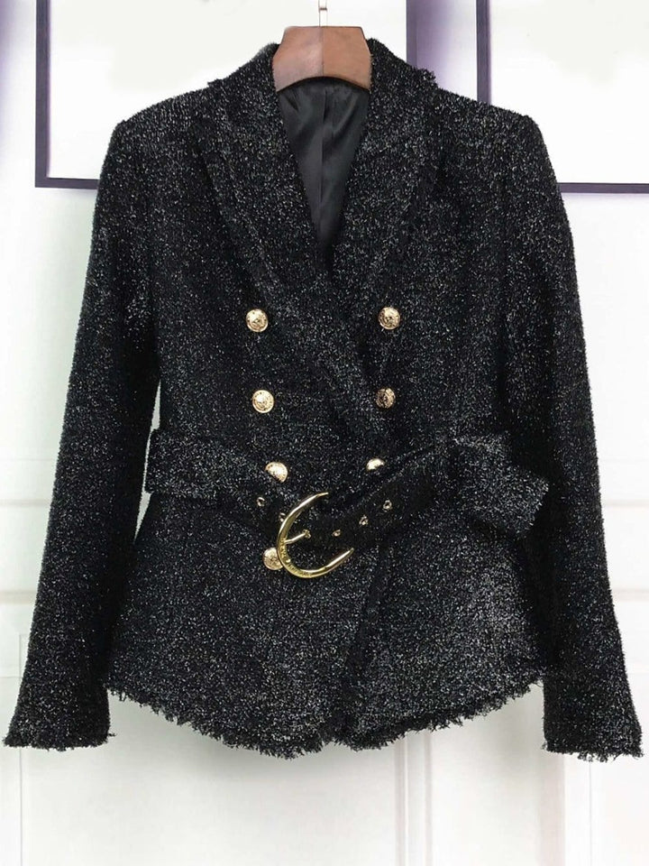 MERCEDES Double-Breasted Belted Tweed Blazer