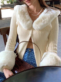 Faux Fur Knitted Cardigan