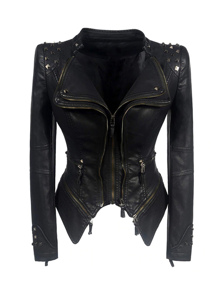 Rivet Zipper Leather Jacket