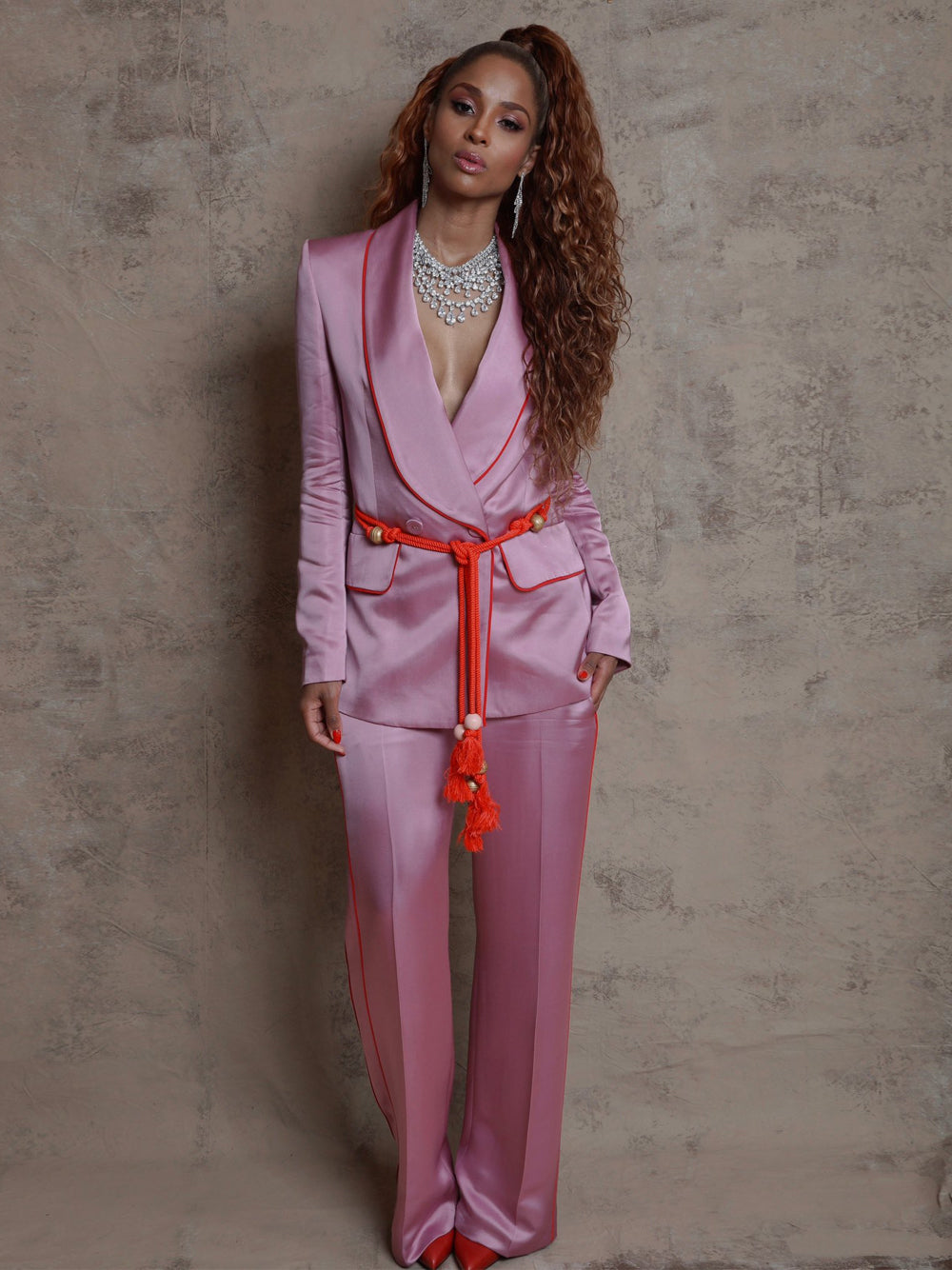 DALIDA Double-breasted Satin Blazer + Pants Matching Set in Pink