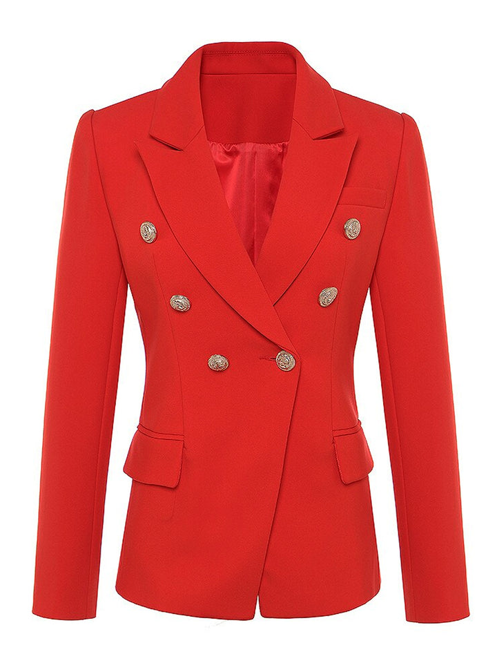 PENELOPE Double-Breasted Blazer in Red