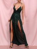 KARENNE Sequins Slit Maxi Dress in Green