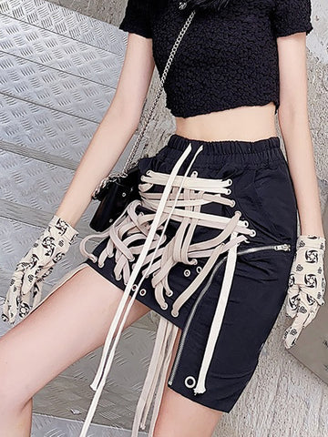 Laced Drawstrings Mini Skirt