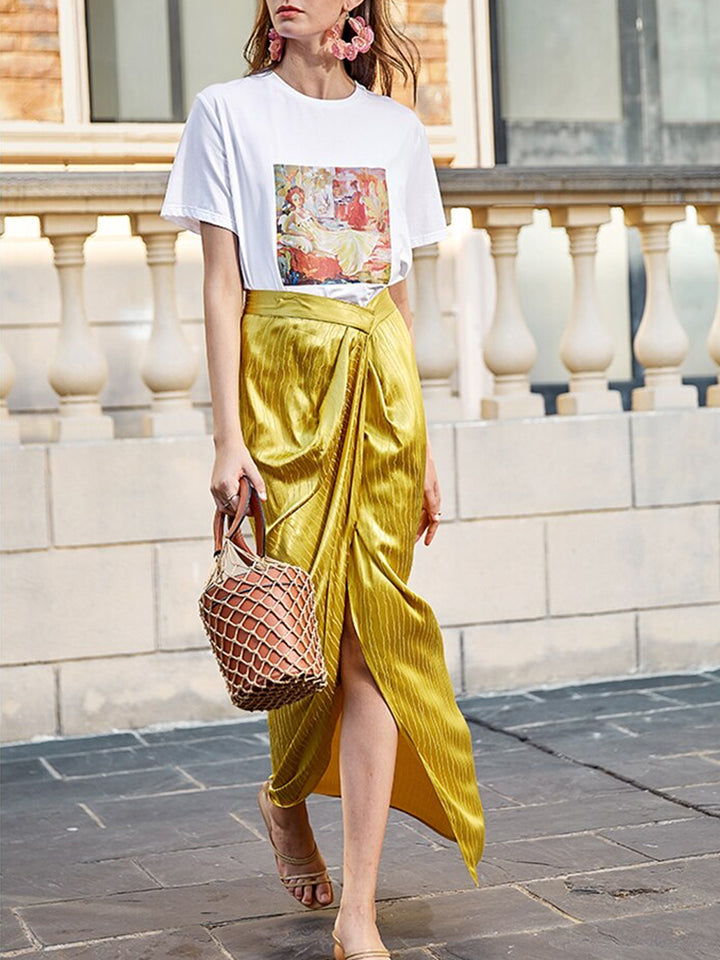 Asymmetrical Satin Skirt