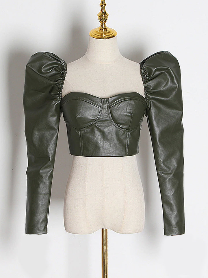 Puff Sleeve Leather Top