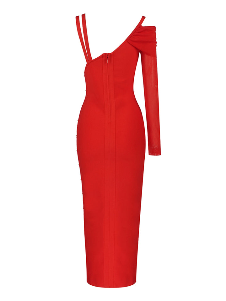 BRIGHTON Slit Dress in Red