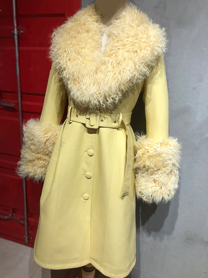 Faux Fur Genuine Leather Coat in Yellow