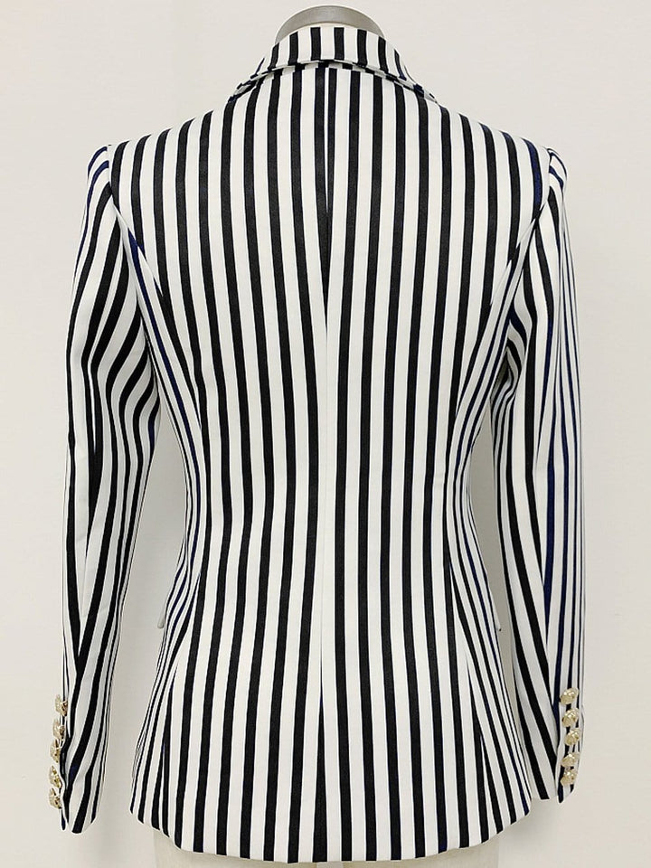 Double-breasted Striped Blazer in White/Black