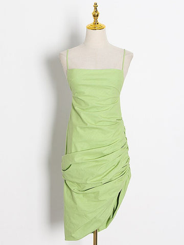 ITAEL Ruched Backless Dress