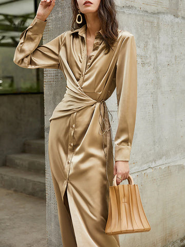 LUCA Satin Midi Dress