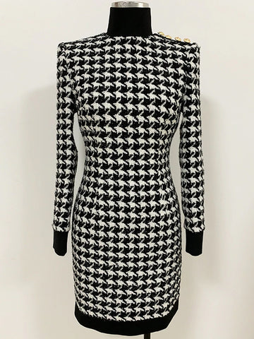 QUINN Tweed Houndstooth Mini Dress