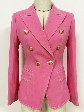Pink Double Breasted Denim Blazer