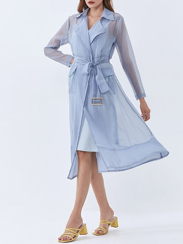 Trench Coat with Detachable Burnt Ostrich-Feather Pockets in Blue