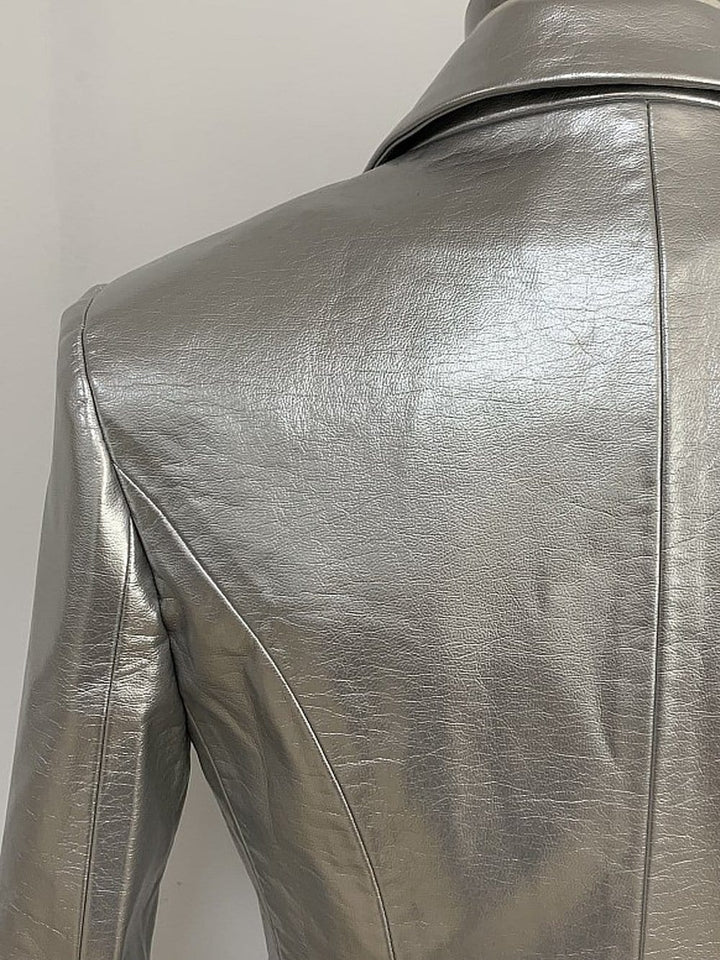 Silver Double-breasted Leather Blazer