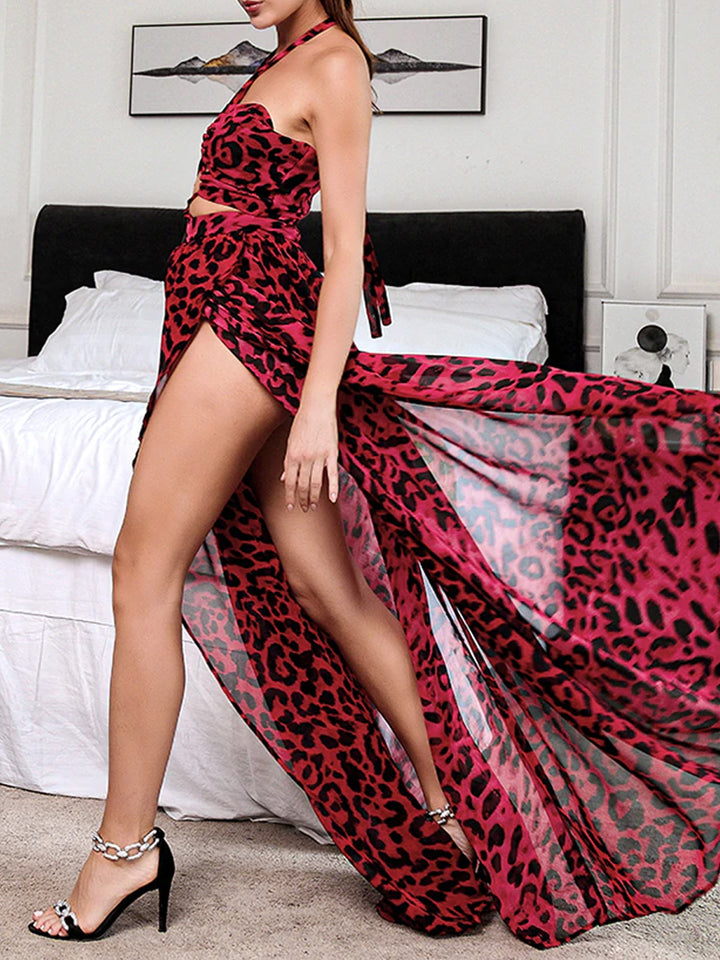 LIANNE Cut Out Leopard Maxi Dress