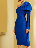 GIGI Wade One Shoulder Midi Dress in Blue