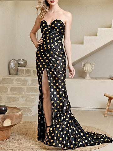 EMMAI Cross Slit Golden Dot Maxi Dress