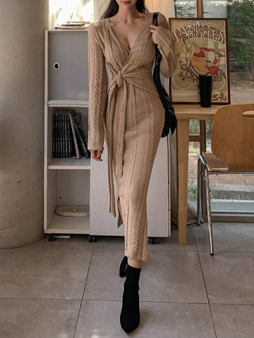 SOLINE Cable Knit Maxi Dress