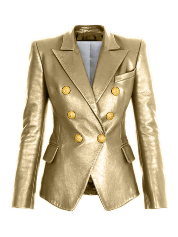 GOLD Double-Breasted Leather Blazer