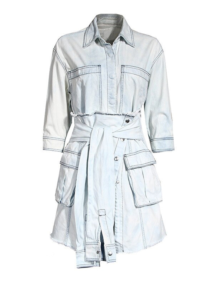 CLILLA Denim Shirt Dress & Mini Skirt Set