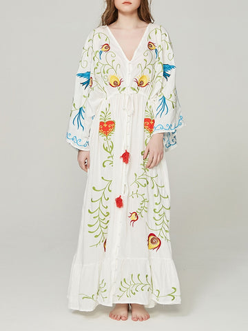 NATI Embroidered Kimono Dress