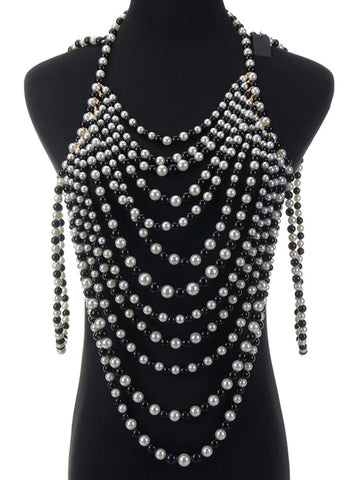Body Chain Top & Necklace Set in B&W