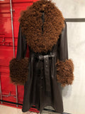 Faux Fur Genuine Leather Coat in Brown