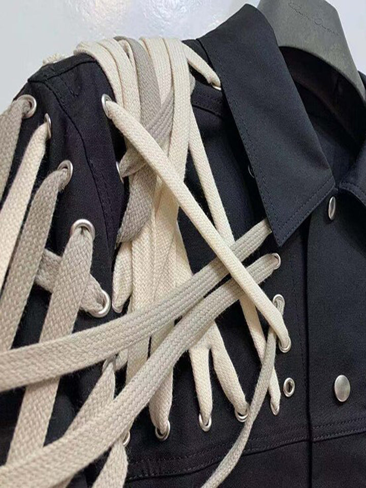 Lace Up  Drawstrings Jacket