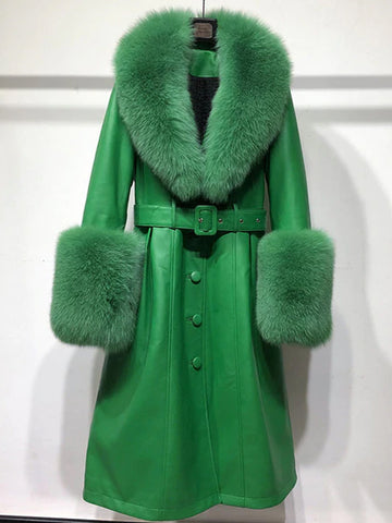 Faux Fur Genuine Leather Coat