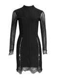 ESMIE Zipper & Lace Trimmed Mini Dress