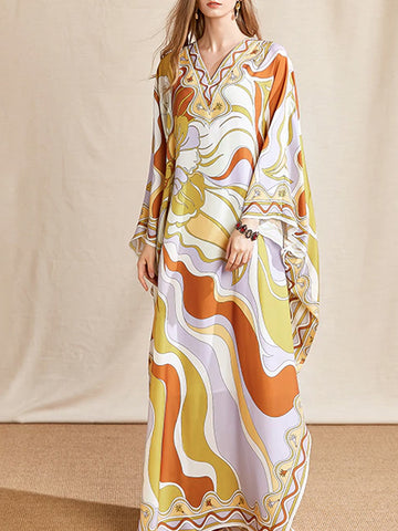 KALIFA Chiffon Loose Maxi Dress