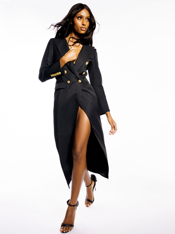 ON MY MIND Slit Maxi Blazer-Dress
