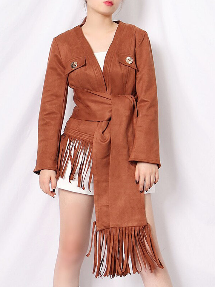 Fringed Suede Leather Jacket w Scarf