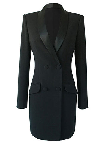 Double-Breasted Blazer Dress in Black