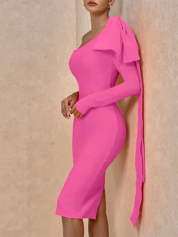 GIGI Wade One Shoulder Midi Dress in Pink