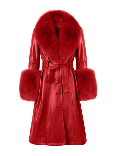 Faux Fur Genuine Leather Coat in Red