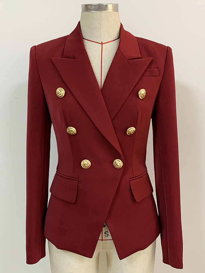 Burgundy Double Breasted Blazer