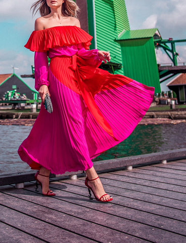 GAES Off The Shoulder Pleated Maxi Dress