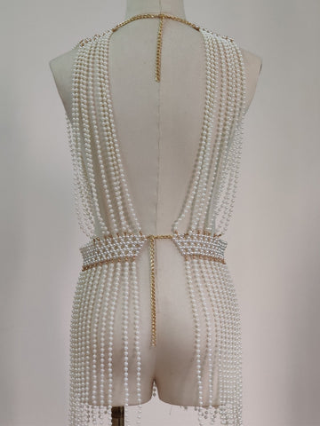Simulated Pearls Vest
