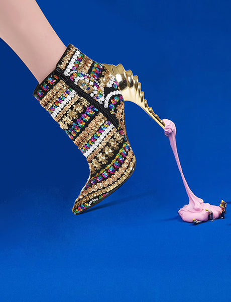 STP-UP Sequinned Ankle Boots