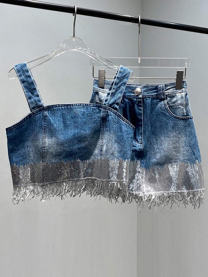 Sequin Embellished Denim Top & Skirt Set