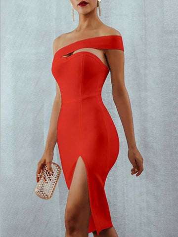 ALAMOSA One-Shoulder Bodycon Dress in Red