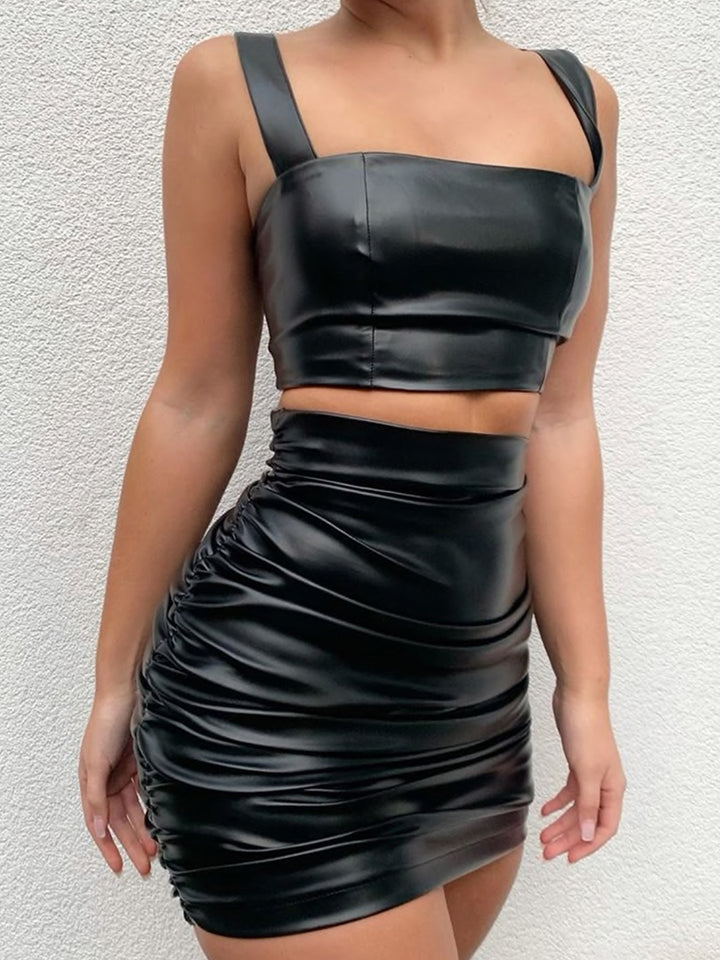 Ruched High Waist Faux Leather Skirt