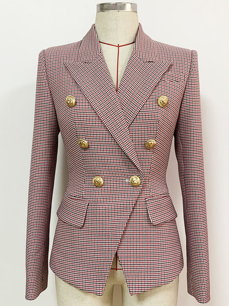Double Breasted Houndstooth Blazer