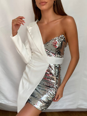BAKATA White Half Sequinned Asymmetrical Mini Dress