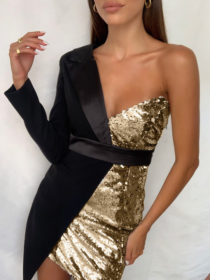 PYRAMID Sequined Mini Dress in Gold