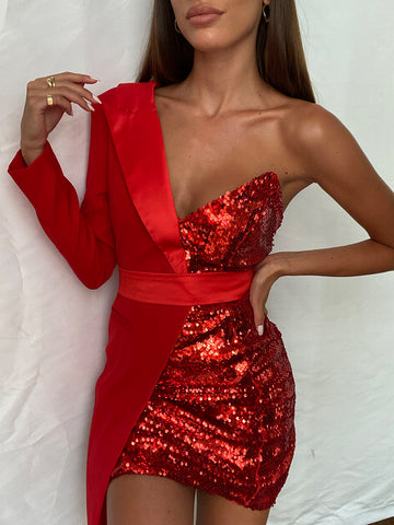 BAKATA Red Half Sequined Asymmetrical Mini Dress