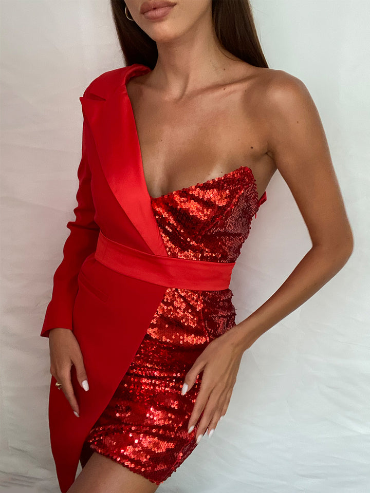PYRAMID Sequined Mini Dress in Red
