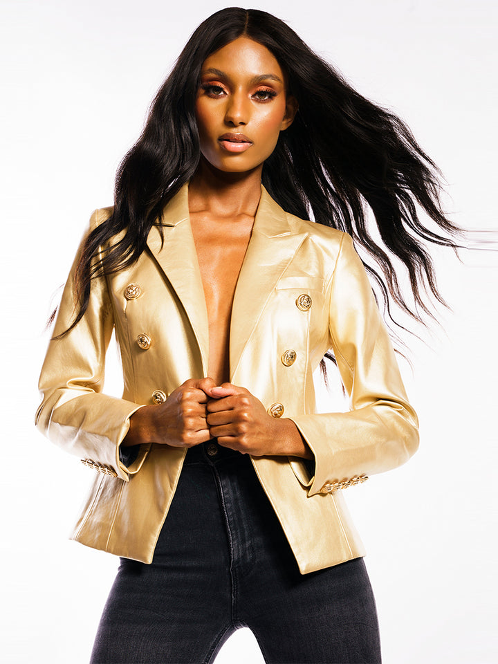UNTITLED Double-Breasted Leather Blazer in Gold