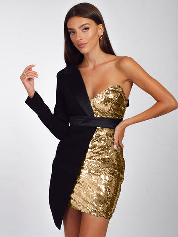 BAKATA Gold Half Sequined Asymmetrical Mini Dress